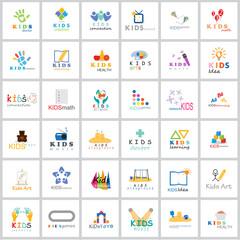 Children Icons Set - Isolated On White Background. Vector Illustration, Graphic Design. For Web, Websites, App