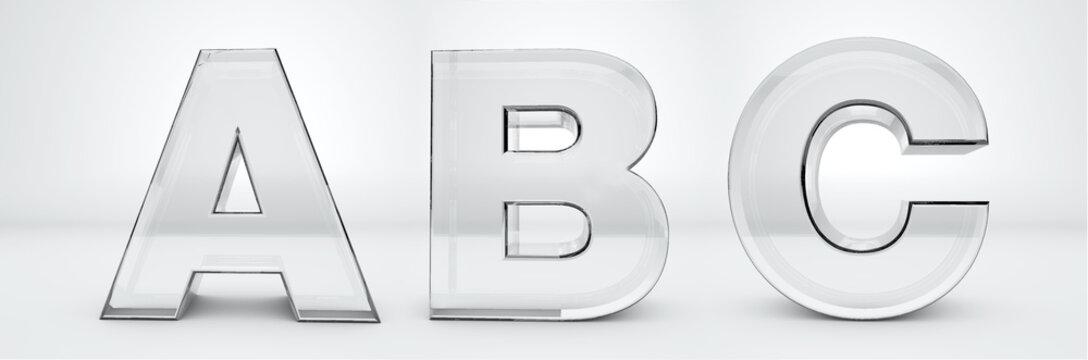 Transparent letters A, B, C. Glass alphabet 3d render. Path save.