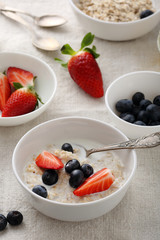 morning oat with strawberries in bowl