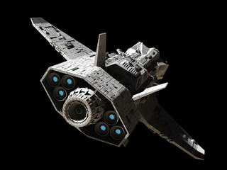 Science fiction illustration of an interplanetary gunship, isolated on black, rear angled view with blue engine glow, 3d digitally rendered illustration