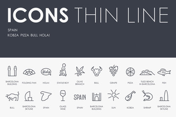 Spain Thin Line Icons