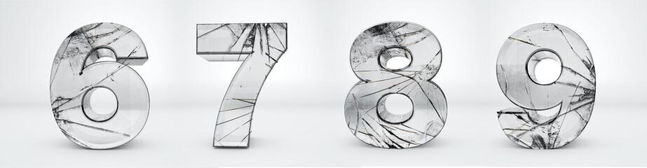 Transparent numbers 6, 7, 8, 9. Glass broken alphabet 3d render. Path save.