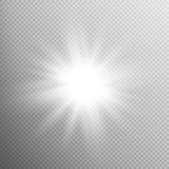 White glowing light burst effect. EPS 10