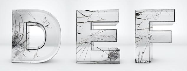 Transparent letters D, E, F. Glass broken alphabet 3d render. Path save.