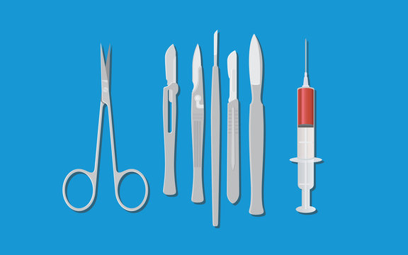 surgery surgeon metal tools with knife scissors and syringe