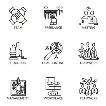 vector set icon business