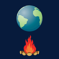 global warming illustration with globe and fire bonfire vector