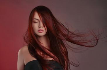 beautiful girl with long healthy hair