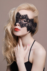 blonde beauty girl with mask