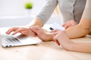 Two friends or sisters making on line shopping by credit card