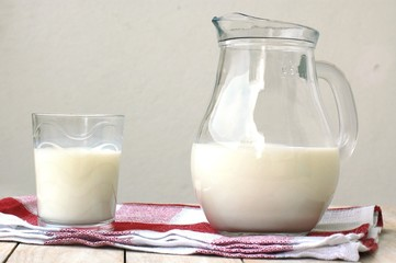 White milk in the glass with the jug on the wooden background