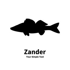 Vector illustration silhouette of zander