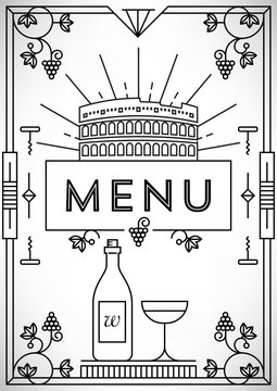 Trendy Wine Menu Design with Linear Icons