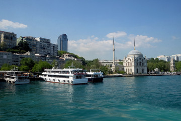 Kabatas pier and historical Kabatas mosque in Istanbul