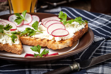 Light healthy sandwiches.
