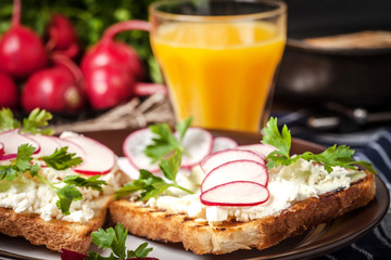 Light healthy sandwiches.