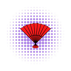 Red open hand fan icon, comics style