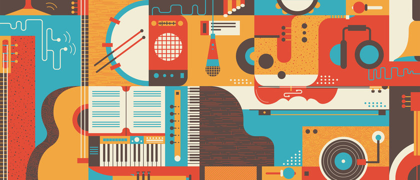 Abstract Music Background flat vector illustration