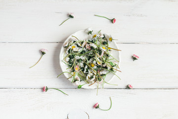 bunch of flowers on the plate