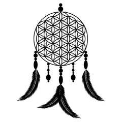 Dreams Catcher Flower of Life black shape