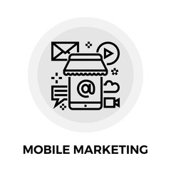 Mobile Marketing Line Icon