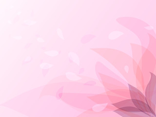 Pink flower petals flying in the wind, vector illustration