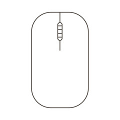 Gaming Mouse Monochrome Outline Icon Isolated On White Background