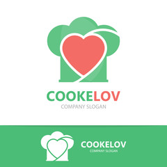 Vector logo combination of a heart and chef hat