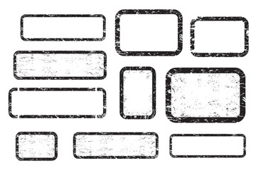 Set of empty grunge stamp, graphic design elements, black isolated on white background, vector illustration.