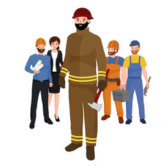 Professions firefighter man. Worker peoples team isolated vector illustration