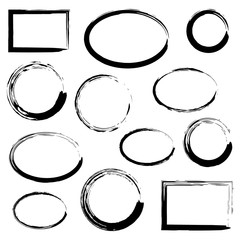 Grunge frames set, black isolated on white background, vector illustration.