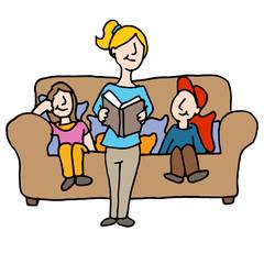 baby sitter reading to children