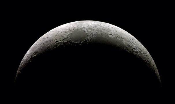 High  detail Waxing Crescent Moon (15,4% illuminated) taken with SkyWatcher Mak127/1.500@3.000mm & Astrolumina alccd5l-IIc Camera. Mosaic of 14 frames.
