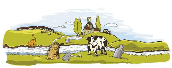 Фон. Молочные реки в природе. Молочная ферма, коровы. коты пьют молоко.