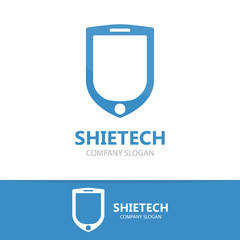 Vector logo combination of a shield and phone