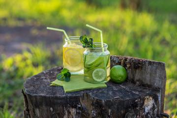 Homemade citrus lemonade in the garden