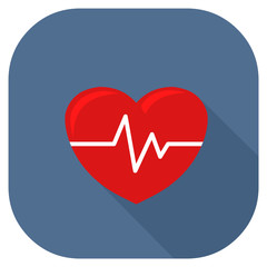 Vector illustration of a heart internet icon with pulse. Medical or emergency services health evaluation.