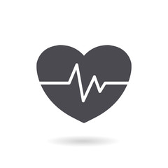 Vector illustration of a heart internet icon with pulse.