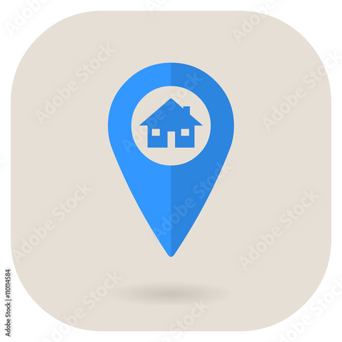 Vector Illustration Of A Residential Pin Locator Internet Icon
