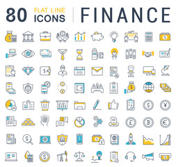 Set Vector Flat Line Icons Finance