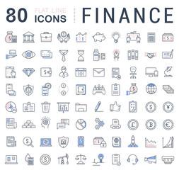 Set Vector Flat Line Icons Finance