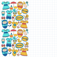 Baby icons Hand drawn doodle vector set