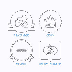 Crown, pumpkin and theater masks icons.