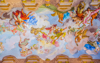ceiling painting in Melk Abbey in Melk, Austria. Abbey Church is considered one of the most beautiful in Austria, built in baroque style.