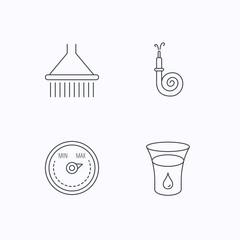 Shower, fire hose and heat regulator icons.