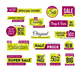 Set of promotional badges and sale tags, modern design