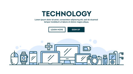 Technology, concept header, flat design thin line style