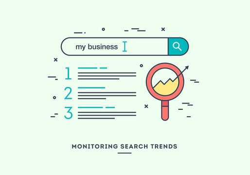 Monitoring search trends, digital marketing concept, flat design thin line banner.