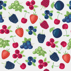 Seamless pattern of different kinds of berries