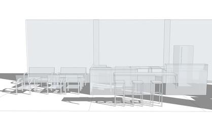 monotone 3d sketch design coffee shop and cafe